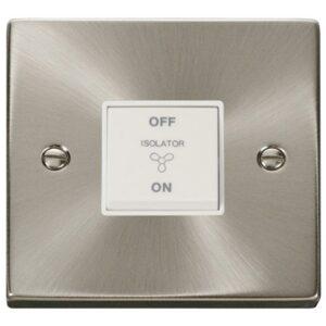 Click Deco Fan Isolator Switch Brushed Chrome Shockets White Insert