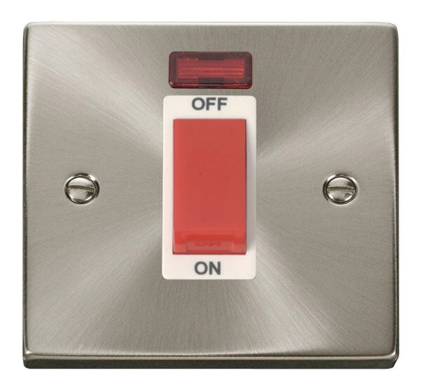 Click Deco 1Gang 45a Cooker Switch Brushed Chrome Shokets White Insert