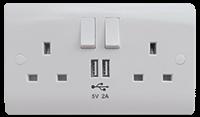 13A Twin Sw. Skt. C/W USB Port