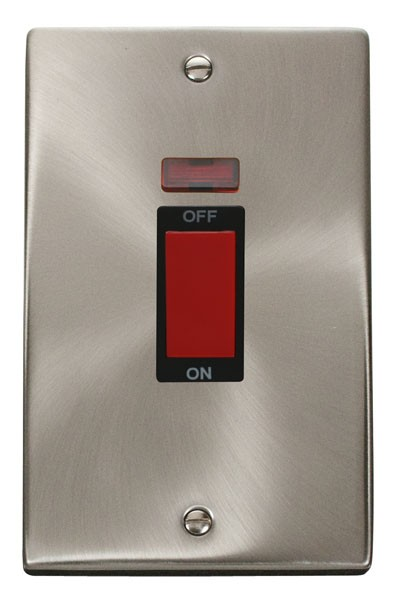 Click Deco 2Gang 45a Cooker Switch Brushed Chrome Shokets. White Insert