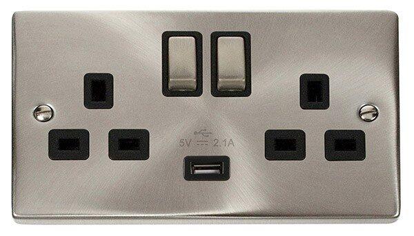 Click Deco Twin Switched Socket c/w USB