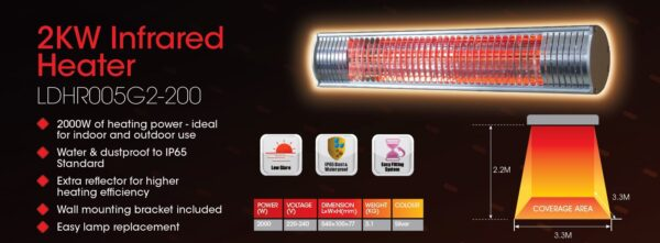 2KW Infrared Patio Heater
